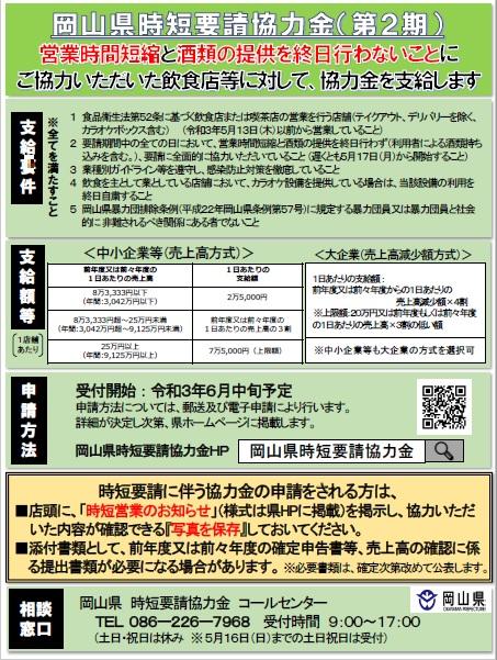 岡山県時短要請協力金